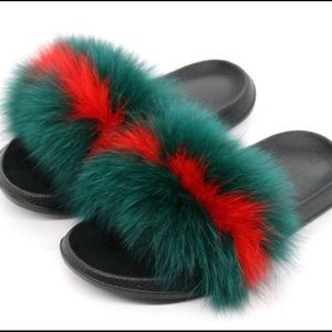 Shoes - Last Pair Dark & Red Furry Slides 11